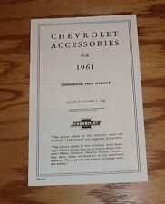 1961 Chevrolet Accessories Price List Brochure 61 Chevy