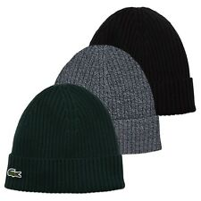 Lacoste Beanie - Lacoste RB4162 Ribbed Beanie - Black, Grey, Green - BNWT
