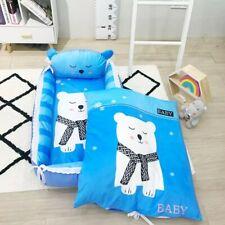 Baby Sleeper Bed Organic Cotton Bed Portable Expandable Lounger w/ Polar Bear