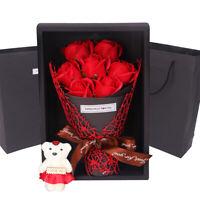 LT_ 1 BOUQUET ARTIFICIAL SOAP ROSE FLOWER BEAR BIRTHDAY DAY BIRTHDAY WEDDING G