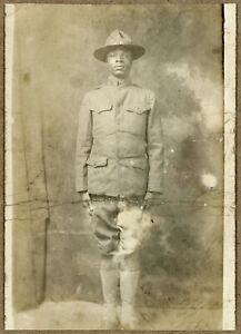 WW I African-American Doughboy RPPC Postcard Photo, circa 1917 - 1918