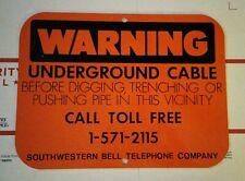 ~Vintage Bell Telephone Warning Underground Cable Hunter Orange Sign~ New~