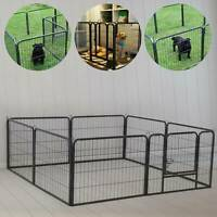 8 Panel Dog Pen Foldable Metal Puppy Exercise Playpen Pet Fence Rabbit Run Black