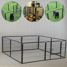 8 Panel Dog Pen Foldable Metal Puppy Exercise Playpen Pet Fence Rabbit Run Black