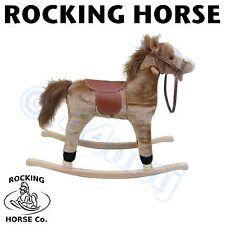 NUOVO Bambini Childs Medium Marrone Chiaro cavallo a dondolo con suono SPEDIZIONE VELOCE