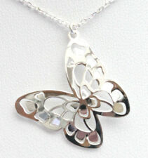 925 solid sterling silver pierced butterfly pendant and chain matching gift box