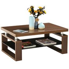 Modern Glass Rectangular Coffee End Table Shelf Living Room Furniture W/ Storage