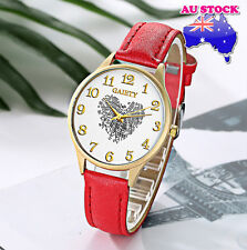 Wholesale Red Leather Love Heart White Dial Quartz Women Lady Wrist Watch