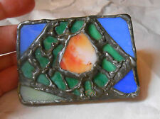 Vintage Handmade Stained Glass Brass Belt Buckle c1960s-1970s