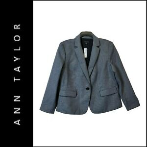 Ann Taylor Woman Career Formal Blazer Suit Size 14 Gray / Brown Nwt
