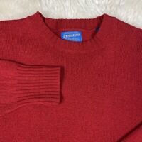 Pendelton Mens Wool Crew Neck Knit Sweater Solid Red Size L Large GUC