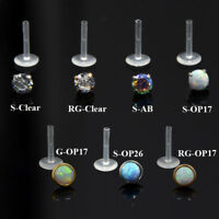 PAIR Zircon Opal Bioplast PTFE Labret Lip Bar Ring Ear Cartilage Piercing Stud