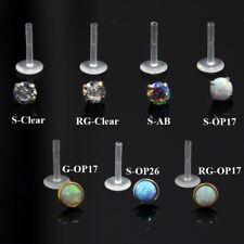 PAIR Zircon Opal Bioplast PTFE Labret Lip Bar Ring Ear Cartilage Piercing Stud
