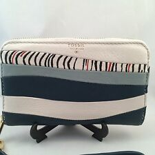 Fossil Wallet Sydney Zip Phone Heritage Blue White Leather Clutch Wristlet NWT