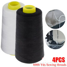 4 Pcs 6000 Each Yards Sewing Machine Polyester Thread Cones Black & White