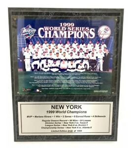 "1999 New York Yankees WORLD Series CHAMPIONS Baseball Team Plaque 15x12"" Limited"