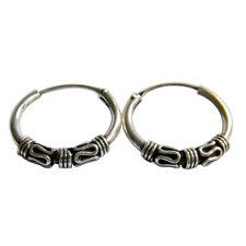 Pair Of Sterling Silver ( 925 ) Bali Barbed  Hoop Earrings 10  mm  !!     New !!