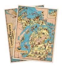 "Two Map Set - Michigan & USA by Ruth Taylor White circa 1933 - 18"" x 24"" prints"