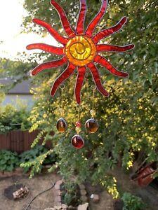 Small Stained Glass & Resin Chakra Red Orange Yellow Sunburst Sun Catcher Mobile