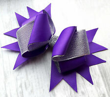 "PURPLE HANDMADE LARGE 6.5"" HAIR RIBBON BOW GIRL KIDS CHILDREN  ALLIGATOR CLIP"