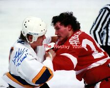 FIGHT! Todd EWEN SIGNED Fight vs Bob PROBERT Red WINGS Blues Custom LAB 8X10 WOW