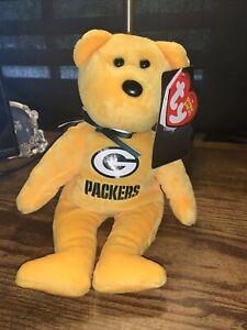"Green Bay Packers Bears Plush 6"" Beanie Babies NWT"
