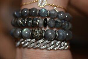 SHERYL LOWE LABRADORITE DIAMOND BALL & DIAMOND RONDELLES BRACELET