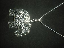 Large Tibetan Silver Elephant Pendant Necklace with gift pouch