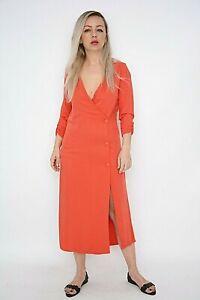 New Women Ex Nobodys Child Orange 3/4 Sleeve Front Button Wrap Midi Dress Size10