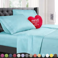 Split King Size Bed Sheets Set, Light Blue Aqua, Bedding Sheet Set, 5-Piece Bed