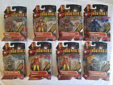 "2010 IRON MAN 2 Marvel Universe MOVIE COMCEPT COMIC Series LOT 8 FIGURES 4"" MOC"