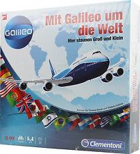 Clementoni 69127 Mit Galileo um die Welt, Familienspiel Brettspiel Schätzfragen