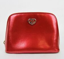 New Gucci Women's Red Shiny Leather Cosmetic Case w/Interlocking G 338189 6523