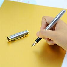 Black Medium Nib BAOER 388 Metal Fountain Pen Gold Trim Arrow Clip Pro Gift