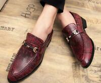 Mens Driving Shoes Casual Smart Moccasins Slip On Crocodile Pattern Loafers Sz L