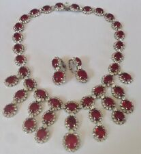 Kramer New York (frequent Dior maker) Ruby-Red Cabochon and Crystal Necklace Ear