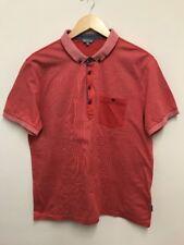 Ted Baker Mens Short Sleeve Polo Shirt Top Orange/ Blood Orange Colour Size 5 XL