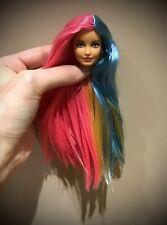 Rerooted reroot trio pink blonde blue long hair Barbie doll head 1/6