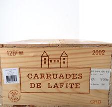 1 CAISSE VIDE DE 12 BOUTEILLE CARRUADES DE LAFITE 2002 COMPLETE estampes