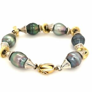 South Sea Pearl Bracelet Assorted Colors and Shapes Sterling Silver Beads 18K Ye