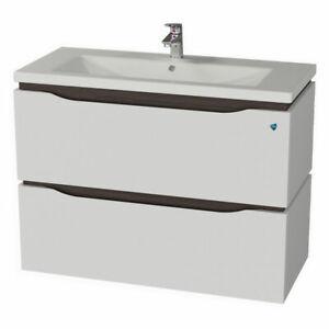 Elean Badmöbel Waschbecken mit Unterschrank Waschtisch LATTE Weiß wenge Neu