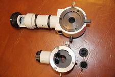 Pair of NIKON OPTIPHOT VERTICAL ILLUMINATOR MICROSCOPE PARTs with polarizers