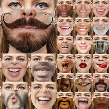 3D Printed Funny Face Mask Breathable Washable Mouth Protection Reusable UK