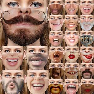 Reusable Funny Face Masks Fun 3D Smile Mask Washable Masks Party Funny mask