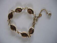 "Vintage Sarah Coventry Bracelet ~ Faux stone topaz ~ gold tone 7"" link"