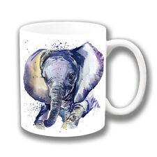 Cute Baby Elephant Coffee Mug 10oz Ceramic Artistic Modern Paint Design White