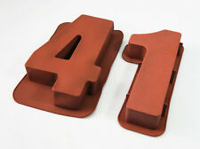 """LARGE 12"""" SILICONE NUMBER MOULDS 41 CAKE TINS BAKING PAN BIRTHDAY 41st ADULT"""