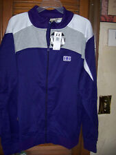 "IMI~NWT's sz L  Mens ""KIngs Purple"" with gray& white track zip up sweatshirt $64"