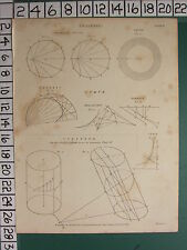 1812 DATED ANTIQUE PRINT ~ ANALYSIS ~ VARIOUS DIAGRAMS CYLINDER CURVE ELEMENT