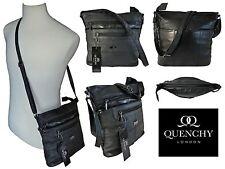 De Cuero Para Mujer Damas Bolso Negro De Cuero Suave Cross Body Bag Bolsos quenchy 922